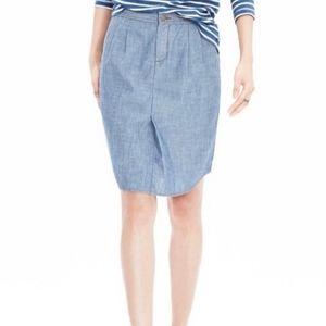 Banana Republic Chambray Shirttail Skirt, Size 4